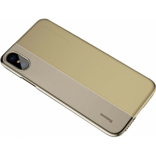Cover Baseus Half to Half Case for iPhone X/Xs - Transparent Gold ARAPIPHX-RY0V