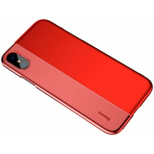 Cover Baseus Half to Half Case for iPhone X/Xs - Transparent Red ARAPIPHX-RY09