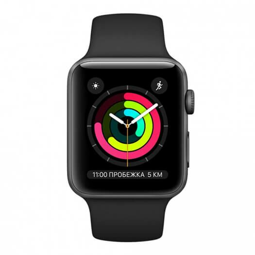Apple Watch Series 3 38mm Space Grey Aluminum Case with Black Sport Band (MTF02) 000010920