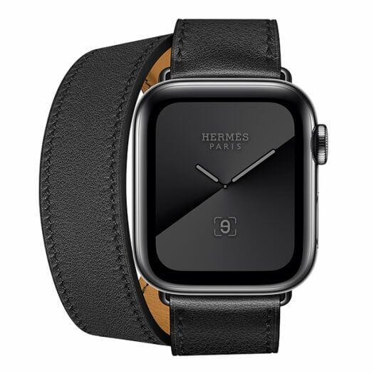 Apple Watch Hermes Series 5 GPS + LTE 40mm Space Black Stainless Steel Case with Noir Swift Leather Double Tour (MWX02) MWX02