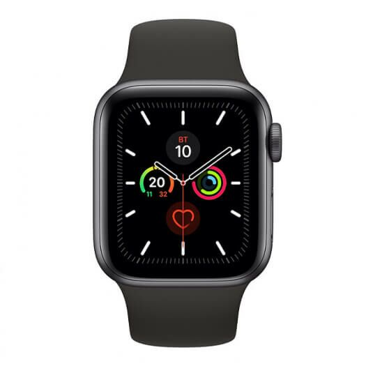 Apple Watch Series 5 44mm Space Gray Aluminum Case with Black Sport Band (MWVF2) MWVF2