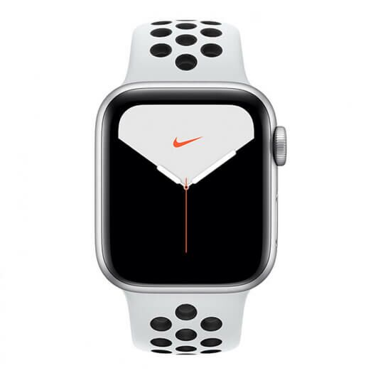 Apple Watch Nike Series 5 GPS 40mm Silver Aluminium Case with Pure Platinum Black Nike Sport Band (MX3R2) MX3R2