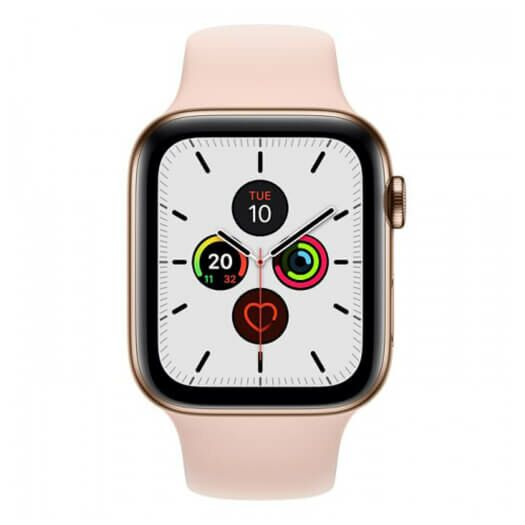 Apple Watch Series 5 GPS + LTE 44mm Gold Stainless Steel Case with with Pink Sand Sport Band (MWW52/MWWH2) MWW52/MWWH2