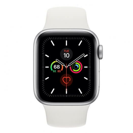 Apple Watch Series 5 40mm Silver Aluminum Case with White Sport Band (MWV62) MWV62