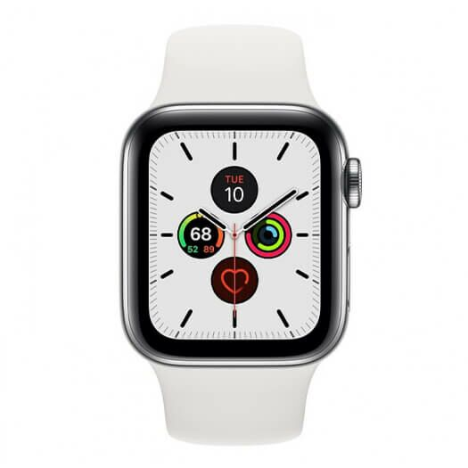 Apple Watch Series 5 GPS + LTE 44mm Stainless Steel Silver Case with White SportBand (MWW22) MWW22